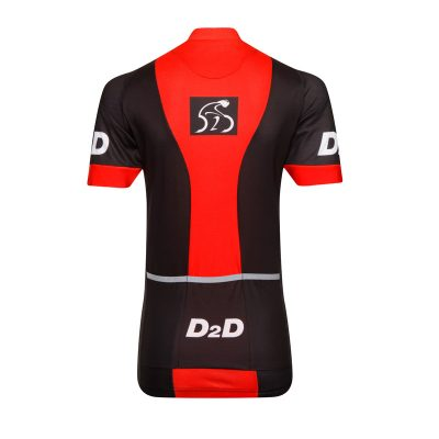 Ladies Short Sleeve Cycling Jersey - V1 Red - Back