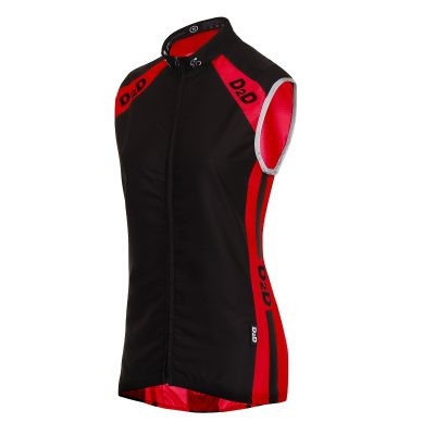Ladies Windskin Gilet in Red & Black - Front