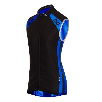 Ladies Windskin Gilet in Blue & Black - Front