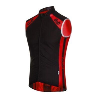 Men's Windskin Gilet in Red & Black - Front