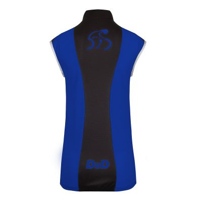 Ladies Windskin Gilet in Blue & Black - Back