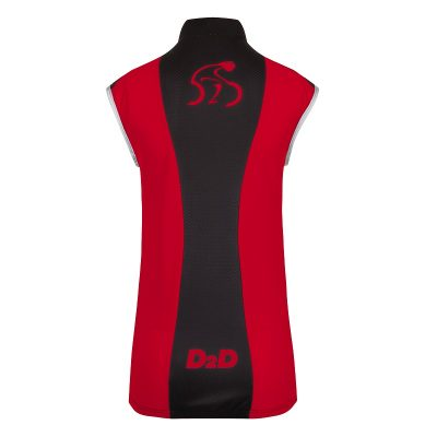 Ladies Windskin Gilet in Red & Black - Back