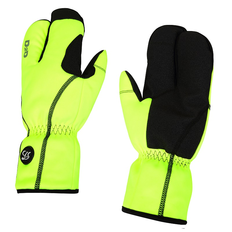 fluoro hi-viz lobster cycling gloves